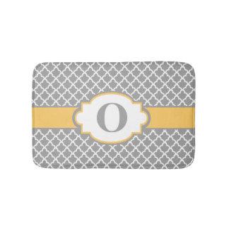 Gray Yellow Quatrefoil Monogram Bathmat Bath Mats