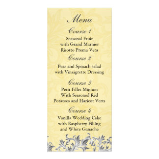 """gray yellow""  Wedding menu Rack Card"