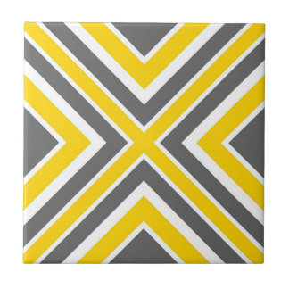 Gray Yellow White Geometric Ceramic Tile