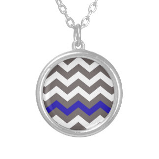 Gray Zigzag With Blue Striped Round Pendant Necklace