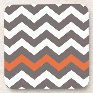 Gray Zigzag With Orange Striped Coaster