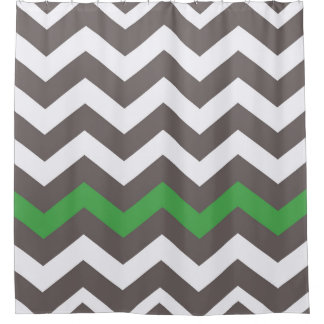 Gray Zigzags With Green Accent Shower Curtain