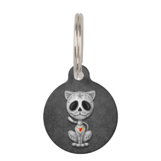 Gray Zombie Sugar Kitten Cat Pet ID Tag
