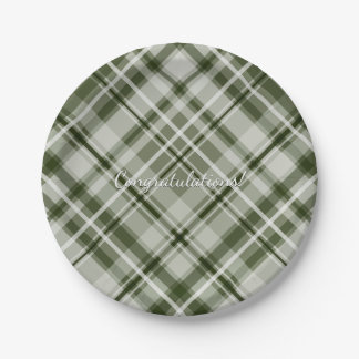 grayed jade green and white tartan plaid pattern 7 inch paper plate