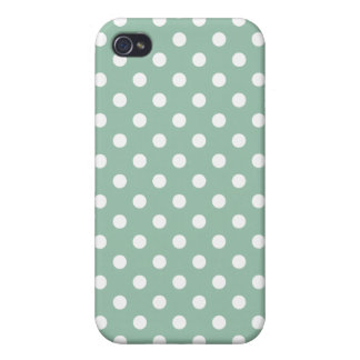 Grayed Jade Green Polka Dot Pattern iPhone 4/4S Cases