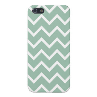 Grayed Jade Green Zig Zag Chevron iPhone 5/5S Cases