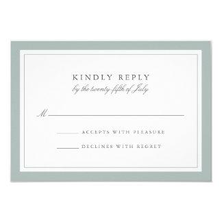 Grayed Jade Simple Border Wedding RSVP Card