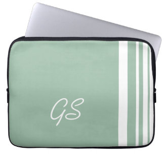 Grayed Jade Trio Stripes with White Laptop Sleeve