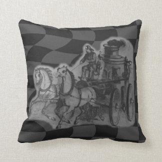 Grayish Horses Drawn Firemen Wagon Throw Pillow Cushions