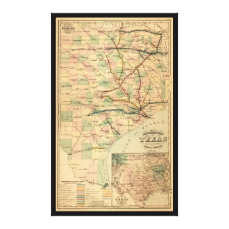 Gray's Railroad Map of Texas (1877) Canvas Print