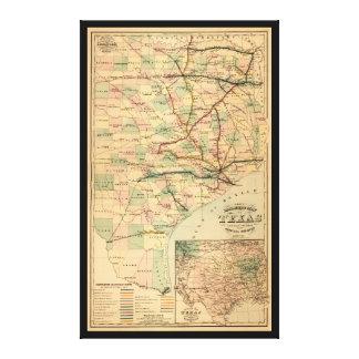 Gray's Railroad Map of Texas (1877) Canvas Prints