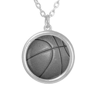 Grayscale Basketball Silver Plated Necklace