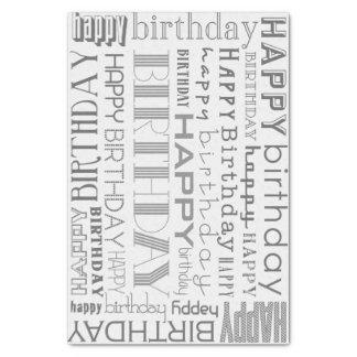 Grayscale Happy Birthday Typography Tissue Paper
