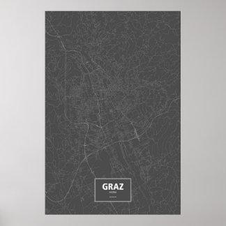 Graz, Austria (white on black) Poster