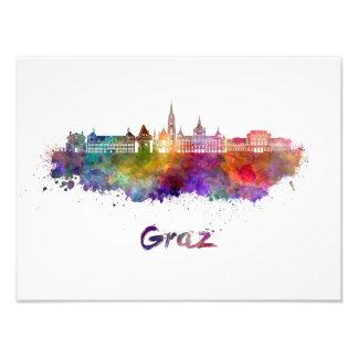 Graz skyline in watercolor photo print