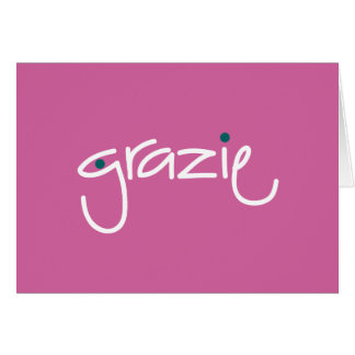 Grazie Thank you in any language Fuchsia Note Card