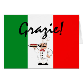 Grazie Thanks Italian Chef Card