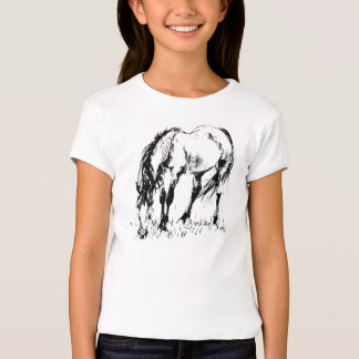 Grazing Horse Illustration T-Shirt