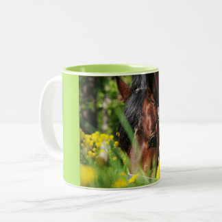 grazing horse Two-Tone coffee mug