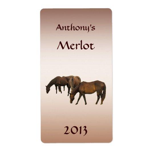 Grazing Horses Animal Wine Label