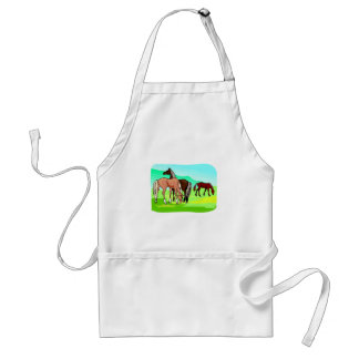 Grazing Horses Field Mountains Background Standard Apron
