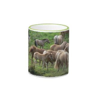 Grazing horses mug