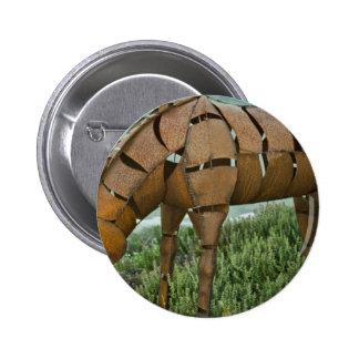 Grazing Iron Horse Pinback Button