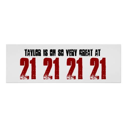 Great 21st Birthday Party Banner Custom Name Poster