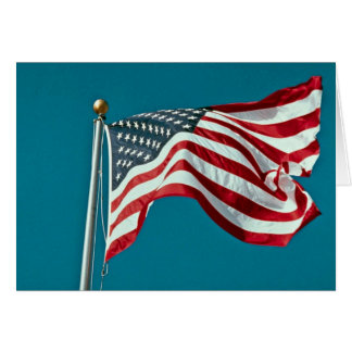 Great American flag flying Greeting Cards