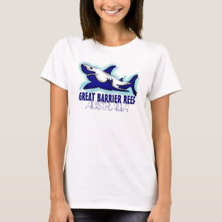 Great Barrier Reef Australia blue shark ladies tee