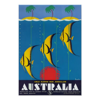 Great Barrier Reef Australia Vintage Travel Poster