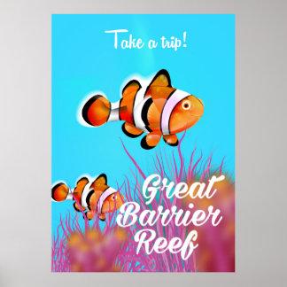 Great Barrier reef Clown fish cartoon poster