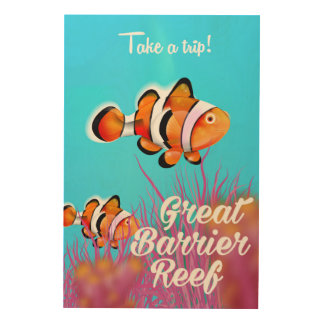 Great Barrier reef Clown fish cartoon poster