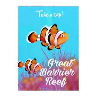 Great Barrier reef Clown fish cartoon poster Acrylic Wall Art