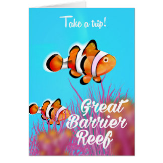 Great Barrier reef Clown fish cartoon poster Card