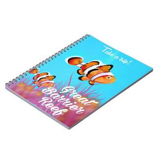 Great Barrier reef Clown fish cartoon poster Notebook