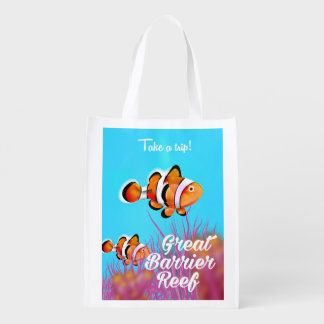 Great Barrier reef Clown fish cartoon poster Reusable Grocery Bag