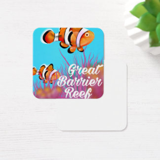 Great Barrier reef Clown fish cartoon poster Square Business Card