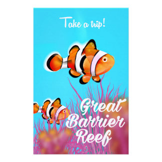 Great Barrier reef Clown fish cartoon poster Stationery