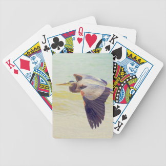 Great blue heron bicycle playing cards