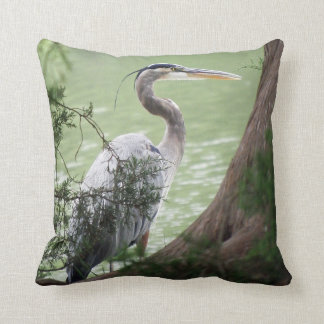 Great Blue Heron By The Tree Cushion