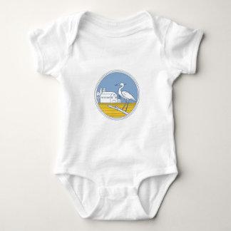 Great Blue Heron Farm Barn Circle Retro Baby Bodysuit