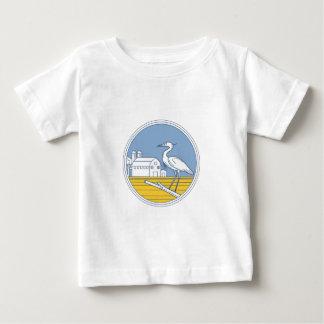 Great Blue Heron Farm Barn Circle Retro Baby T-Shirt