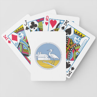 Great Blue Heron Farm Barn Circle Retro Bicycle Playing Cards