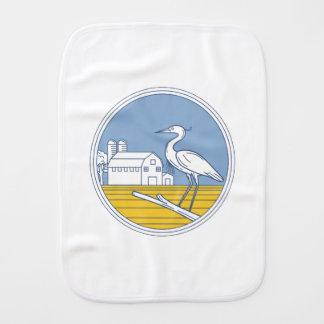 Great Blue Heron Farm Barn Circle Retro Burp Cloth