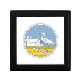 Great Blue Heron Farm Barn Circle Retro Gift Box