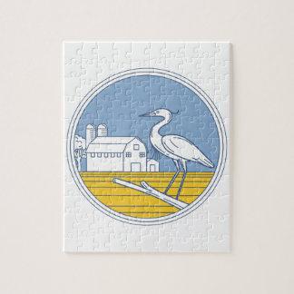 Great Blue Heron Farm Barn Circle Retro Jigsaw Puzzle