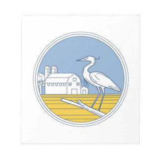 Great Blue Heron Farm Barn Circle Retro Notepad