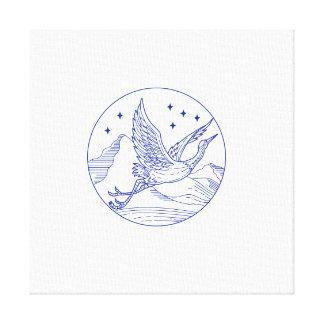 Great Blue Heron Flying Circle Mono Line Canvas Print