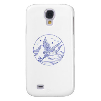Great Blue Heron Flying Circle Mono Line Galaxy S4 Cases